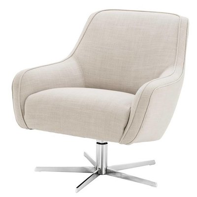 Eichholtz Draai-fauteuil Swivel Chair Serena panama wit naturel