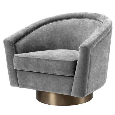 Eichholtz Draaifauteuil Swivel Chair Catene grijs velours