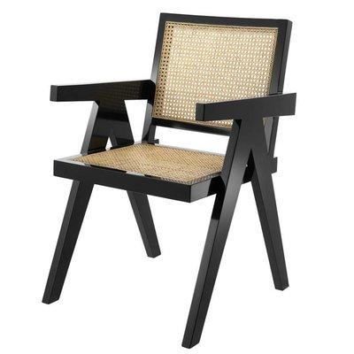 Eichholtz Stoel Dining Chair Adagio zwart / naturel rotan