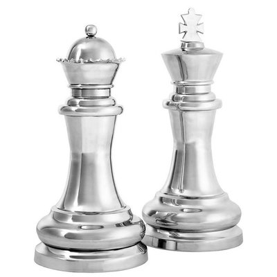 Eichholtz Decoratie Chess King & Queen zilverkleur