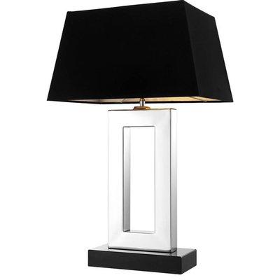 Tafellamp - Table Lamp Arlington zilver glans / zwarte kap  H.71cm