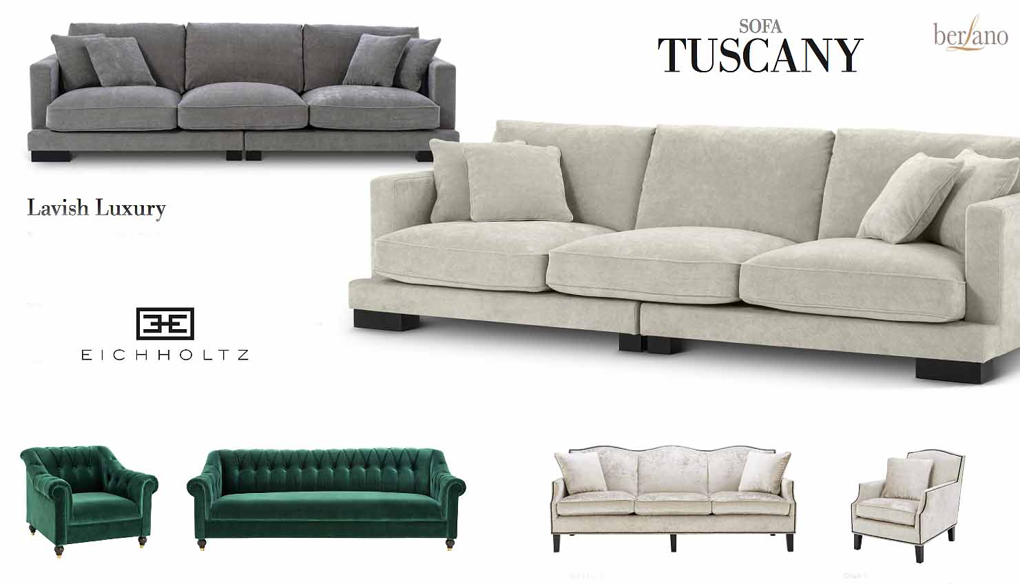 eichholtz showroom sofa TUSCANY grey