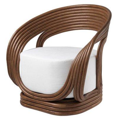 Eichholtz Fauteuil - Chair Romeo bruin rotan / wit zitkussen