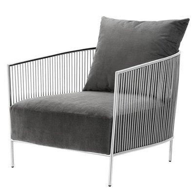 Eichholtz Chair Knox glans metaal / kussens Grijs