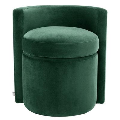 Eichholtz Stool Arcadia - Stoel Groen velvet met ronde rugleuning