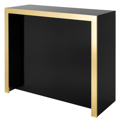 Eichholtz Bar Grimaldi zwart glas, goud afgewerkt