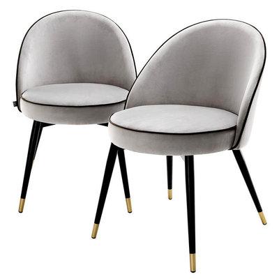 Eichholtz Stoel Dining Chair Cooper set 2 lichtgrijs velvet