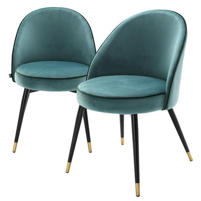 Eichholtz Eetkamerstoel Cooper set 2 turquoise velvet