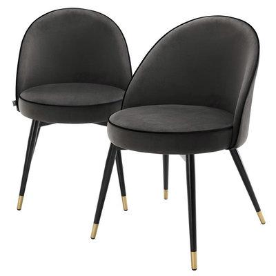 Eichholtz Stoel Dining Chair Cooper set 2 donkergrijs velvet