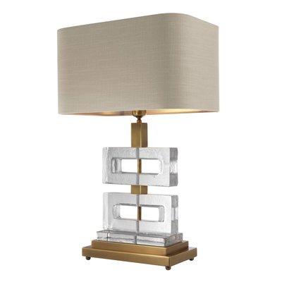 Eichholtz Tafellamp Umbria glas met kaki lampenkap