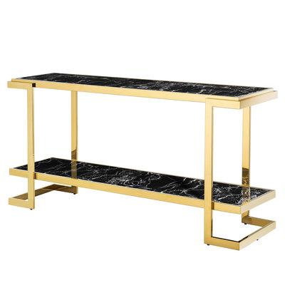 Eichholtz Sidetable - Console Table  Senato goud / zwart marmer look