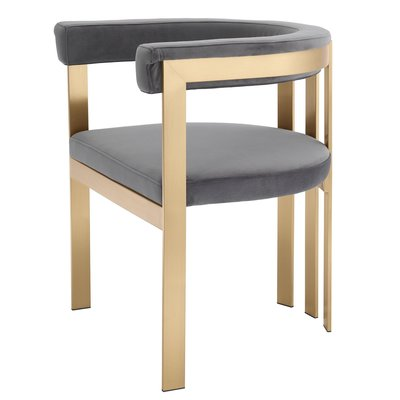 Eichholtz Dining Chair Clubhouse grijs / geborsteld messing