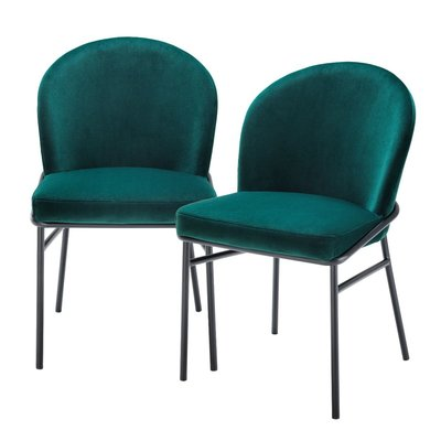 Eichholtz Dining Chair Willis Set 2 Dark Green Velvet