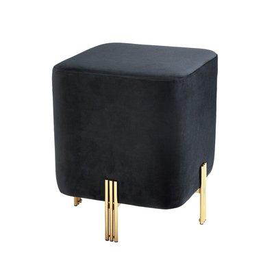 vierkante Poef Stool Burnett  black velvet