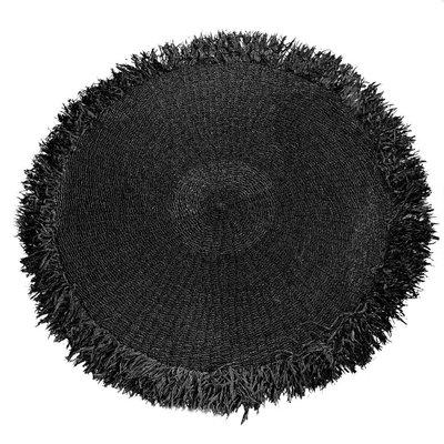 Bazar Bizar Frindged Carpet 150CM Zwart