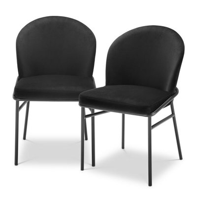 Eichholtz Dining Chair Willis Set 2 Black Velvet