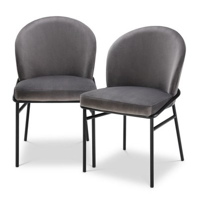 Eichholtz Dining Chair Willis Set 2 Grey Velvet