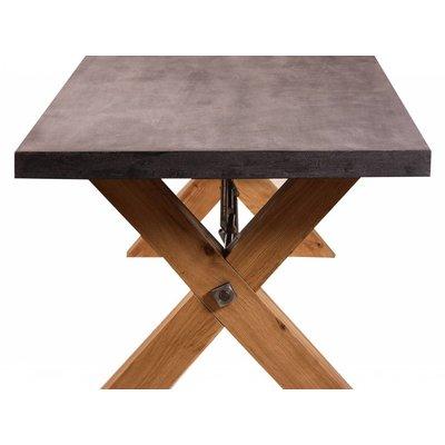 Eiken Tafel met kruispoten / blad beton look