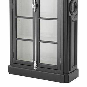 Kast Voor Glaswerk.Eichholtz Zwarte Hoge Vitrine Kast Met Glazen Ruiten En Zilverkleur
