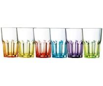 LUMINARC  Set of 6 colored glass tumbler 40 cl