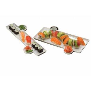 Sushi bord 33x15 x1,3 cm met 2 sauspotjes