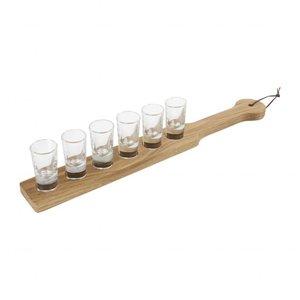 Serveerplank eiken hout inclusief 6 shot glaasjes 2,5 cl