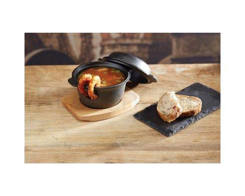 M & T  Cast iron pot 11,8 cm with wooden underliner