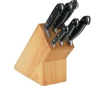 M & T  Knife block wood 7 pieces set