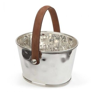 M & T  Ice bucket hammered s/s  with brown leatherette handle