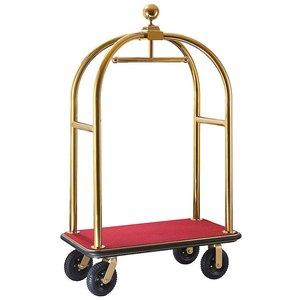 """M & T  Bagage wagen """" Bird cage """" goudkleurig met rood tapijt"""