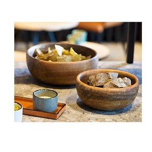 M & T  Set van 2 mango houten slakommen /buffetkommen