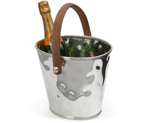 M & T  Wine & champagne cooler hammerd s/s with brown leatherette handles