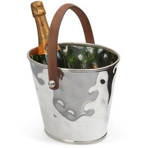 M & T  Seau à vin & champagne en inox martelé avec anses en simili cuir brun