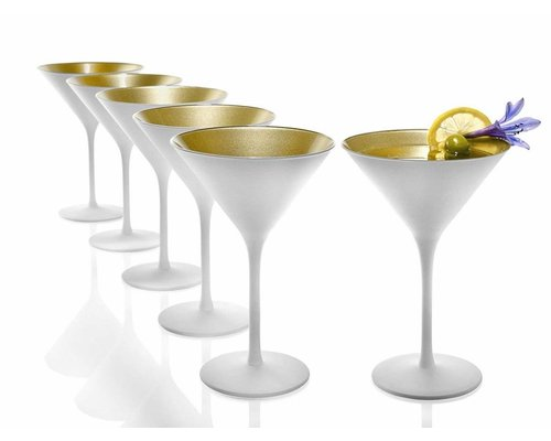 STÖLZLE  Martini cocktail & Champagne glass 24 cl white/gold Olympic