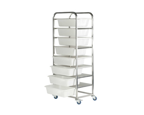 M & T  Container trolley with 8 plastic containers and lid