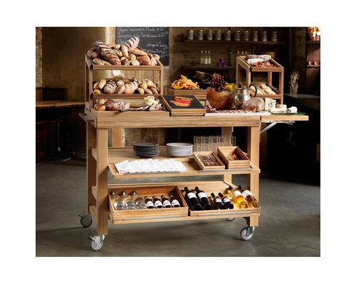 CRASTER  Serving buffet trolley - butchers trolley oak