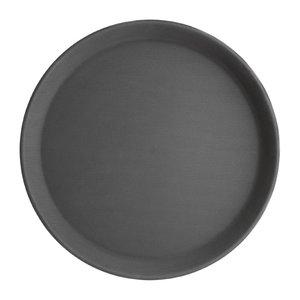 OLYMPIA DIENBLADEN  Round non-slip tray black 35,5 cm