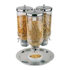 M & T  Ontbijtgranen dispenser 3 x 4,5 liter op roterende rvs voet