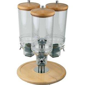 M & T  Ontbijtgranen dispenser 3 x 4,5 liter op roterende houten voet