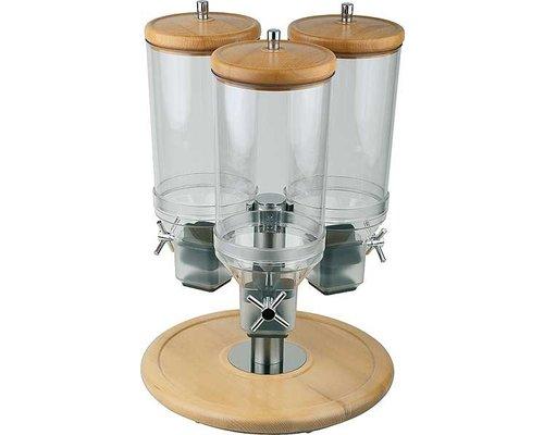 M & T  Ontbijtgranen dispenser 3 ,x 4,5 liter op roterende houten voet