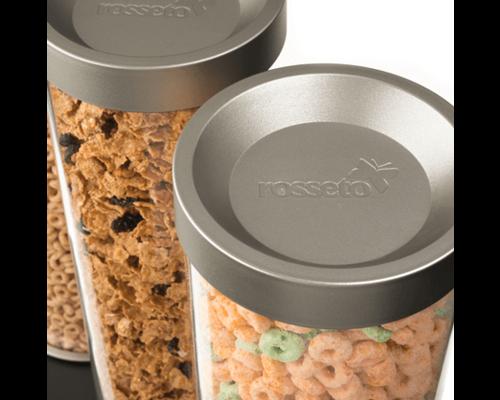 ROSSETO Cereal dispenser 2 x 13 liter on wooden walnut base