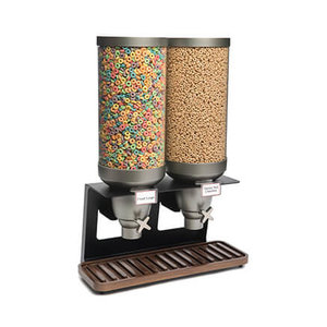 ROSSETO Cereal dispenser 2 x 13 liter XXL on wooden walnut base