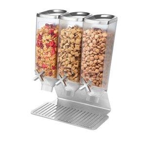 ROSSETO Ontbijtgranen dispenser 3 x 3,8 liter op roestvrijstalen standaard