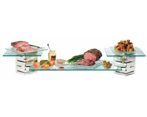 ROSSETO Multi-Level Brushed S/S and glass Buffet Riser  kit 5 pcs