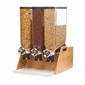 ROSSETO Ontbijtgranen dispenser 3 x 13 liter op  houten bamboe standaard