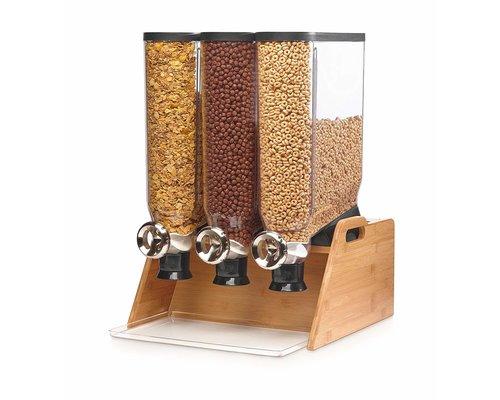 ROSSETO Cereal dispenser 3 x 13 liter on wooden bamboo base