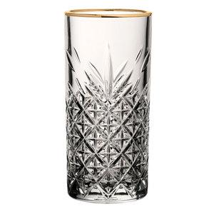 PASABAHCE Longdrink  glas 30 cl met  gouden  boord Timeless Vintage