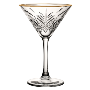 PASABAHCE Martini glas 23 cl met  gouden  boord Timeless Vintage