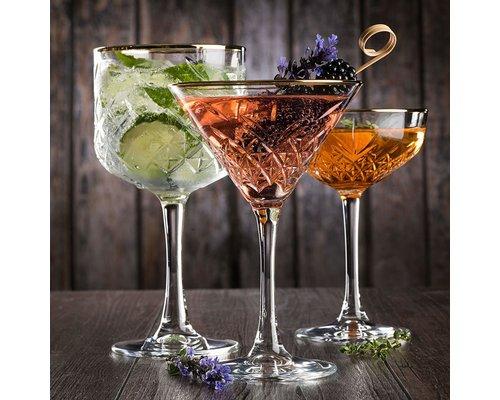 PASABAHCE Cocktail  glas 55 cl met  gouden boord Timeless Vintage