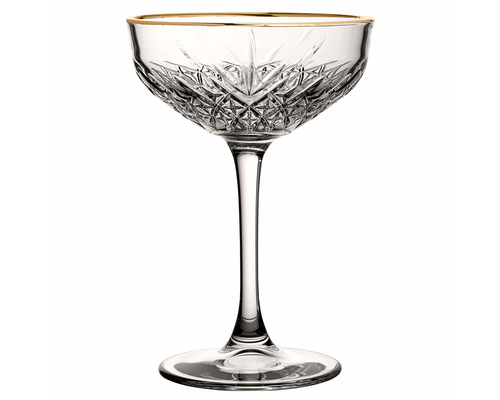 PASABAHCE Cocktail coupe 27 cl with golden rim Timeless Vintage
